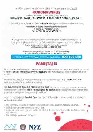 koronawirus informacje plakat