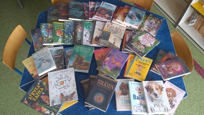 książki w szkolnej bibliotece