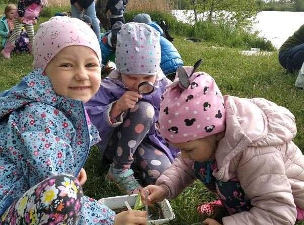 dzieci z przedszkola badają przyrodę