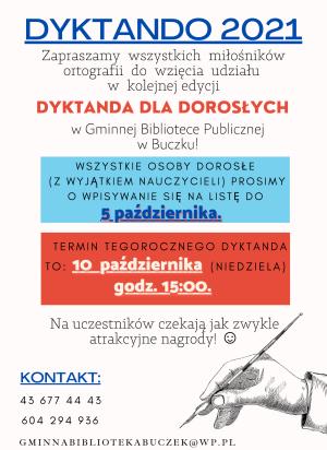 plakat dyktando Buczek 2021